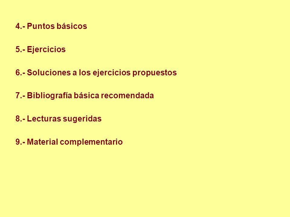 4.- Puntos básicos 5.- Ejercicios. 6.- Soluciones a los ejercicios propuestos. 7.- Bibliografía básica recomendada.