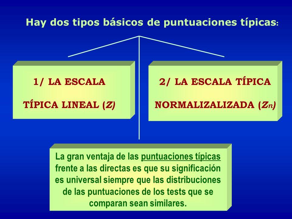 Hay dos tipos básicos de puntuaciones típicas: