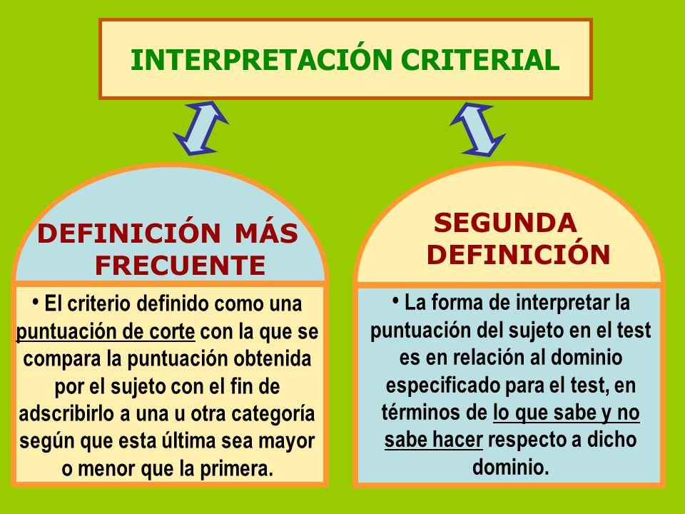 INTERPRETACIÓN CRITERIAL DEFINICIÓN MÁS FRECUENTE