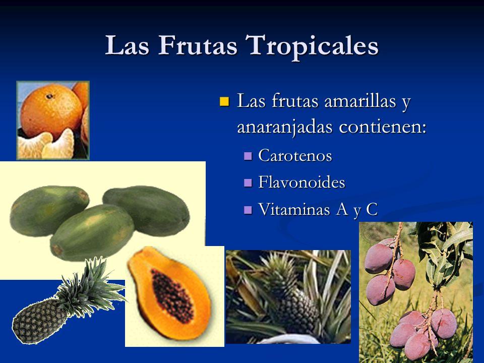Las Frutas Tropicales Las frutas amarillas y anaranjadas contienen: