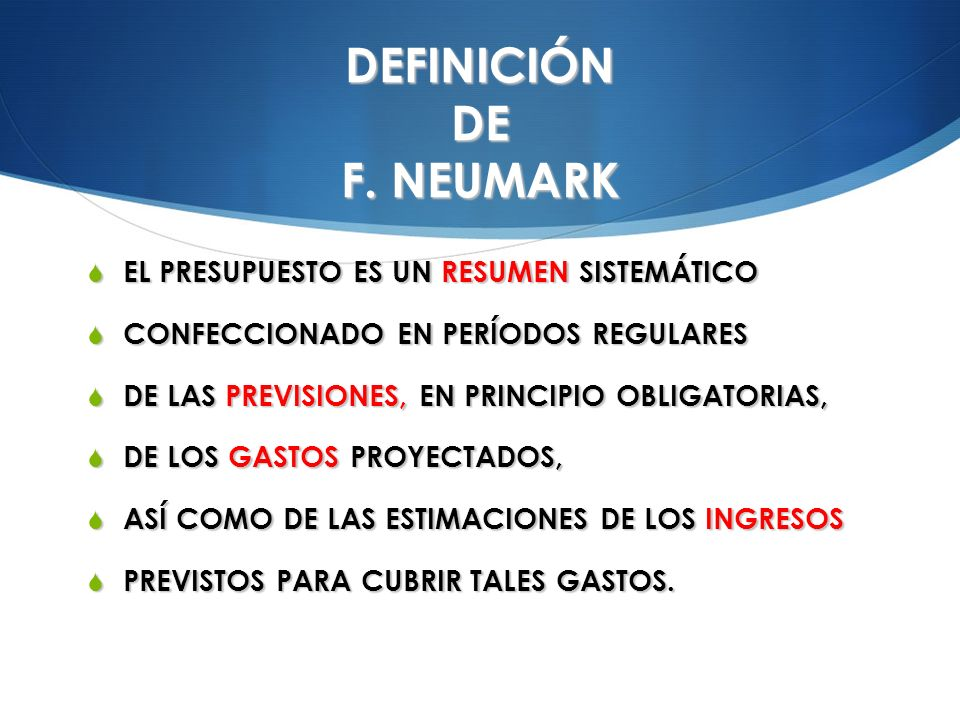 DEFINICIÓN DE F. NEUMARK