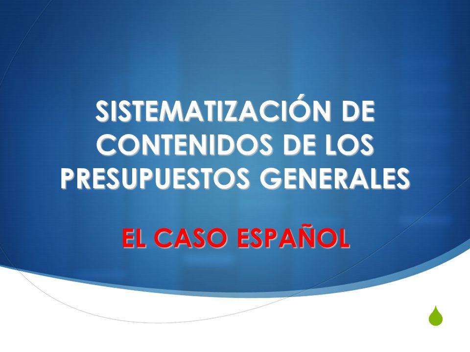 SISTEMATIZACIÓN DE CONTENIDOS DE LOS PRESUPUESTOS GENERALES