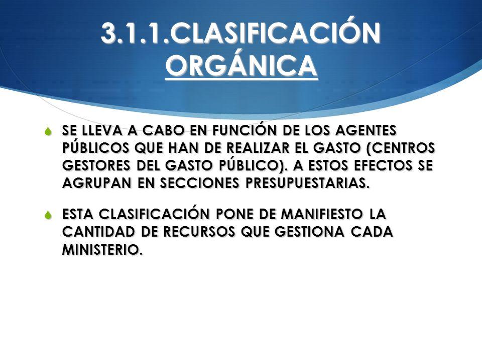 3.1.1.CLASIFICACIÓN ORGÁNICA