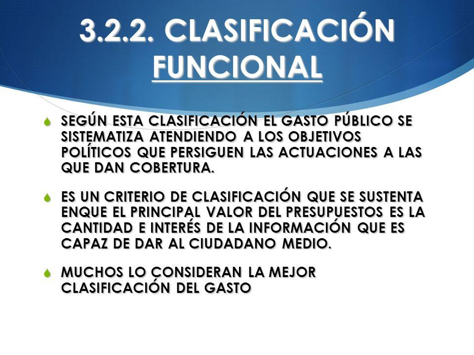 3.2.2. CLASIFICACIÓN FUNCIONAL