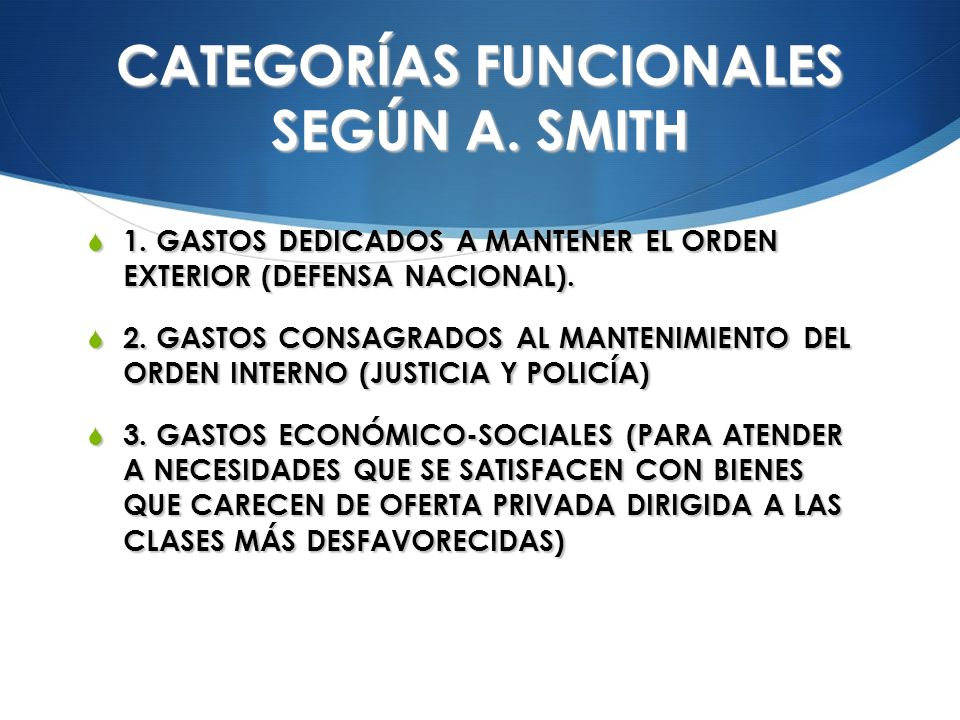 CATEGORÍAS FUNCIONALES SEGÚN A. SMITH