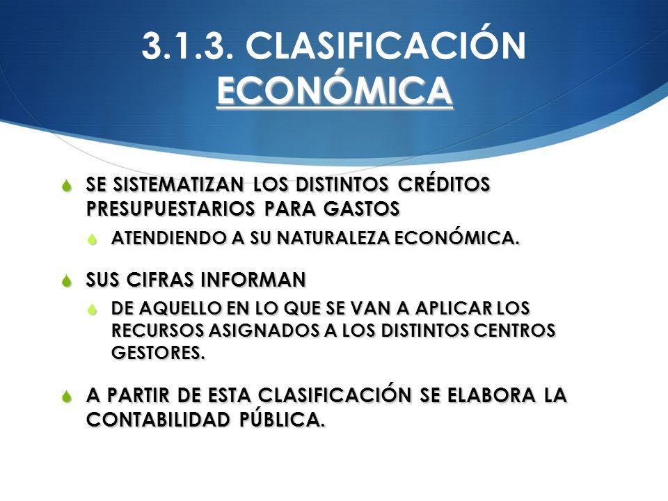 3.1.3. CLASIFICACIÓN ECONÓMICA