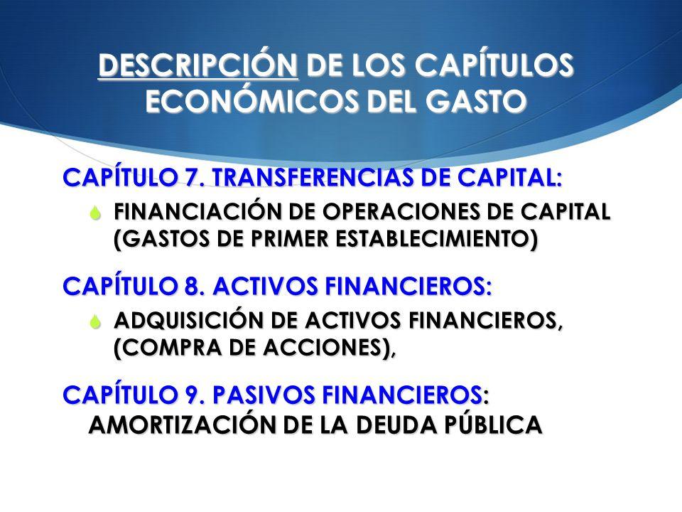 DESCRIPCIÓN DE LOS CAPÍTULOS ECONÓMICOS DEL GASTO