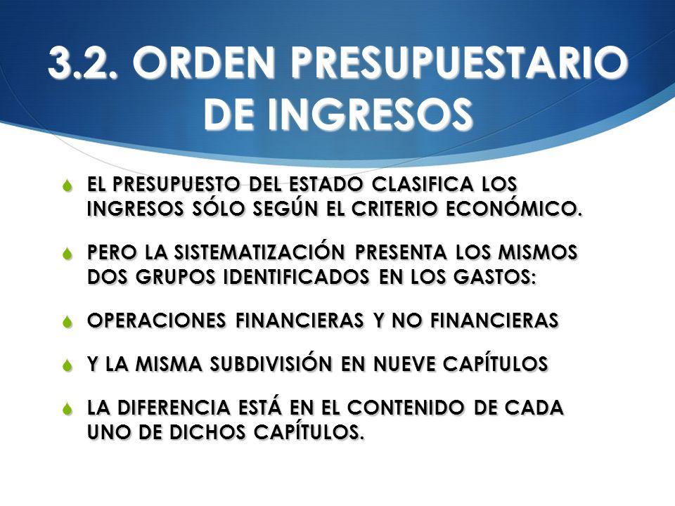 3.2. ORDEN PRESUPUESTARIO DE INGRESOS