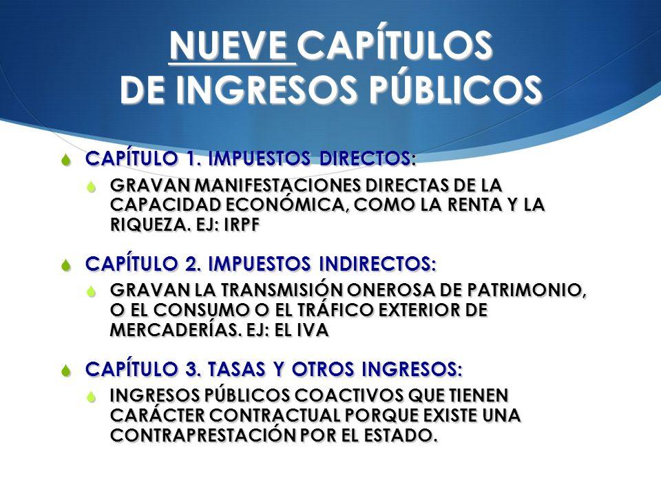 NUEVE CAPÍTULOS DE INGRESOS PÚBLICOS