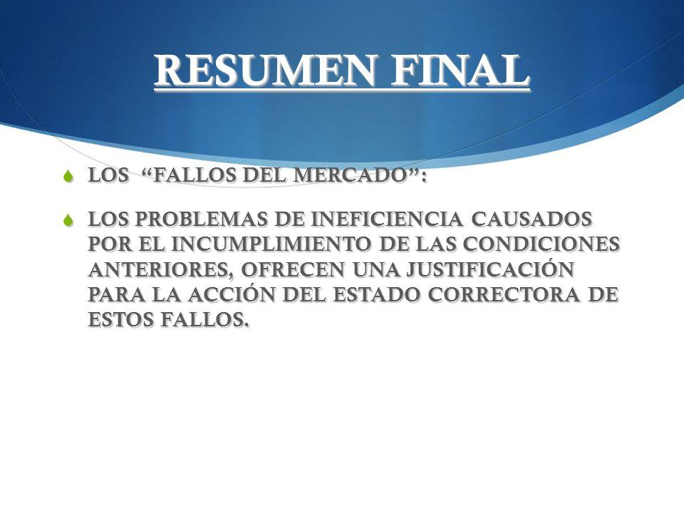RESUMEN FINAL LOS FALLOS DEL MERCADO :