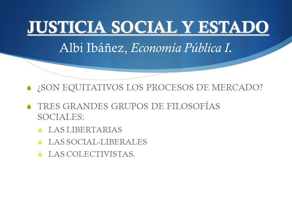 JUSTICIA SOCIAL Y ESTADO Albi Ibáñez, Economía Pública I.
