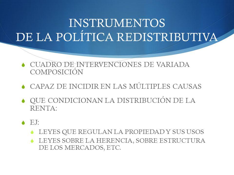 INSTRUMENTOS DE LA POLÍTICA REDISTRIBUTIVA