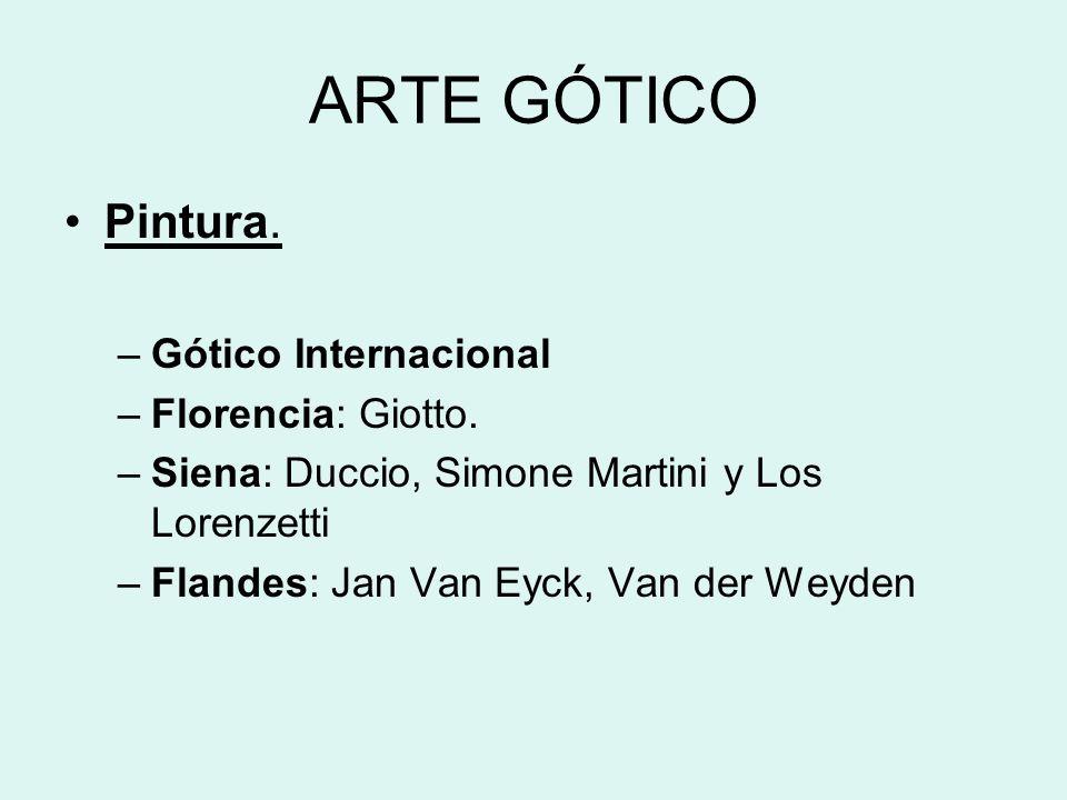 ARTE GÓTICO Pintura. Gótico Internacional Florencia: Giotto.