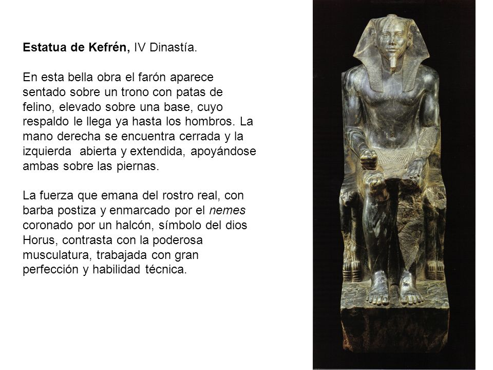 Estatua de Kefrén, IV Dinastía.
