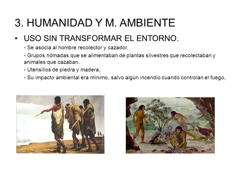 3. HUMANIDAD Y M. AMBIENTE USO SIN TRANSFORMAR EL ENTORNO.