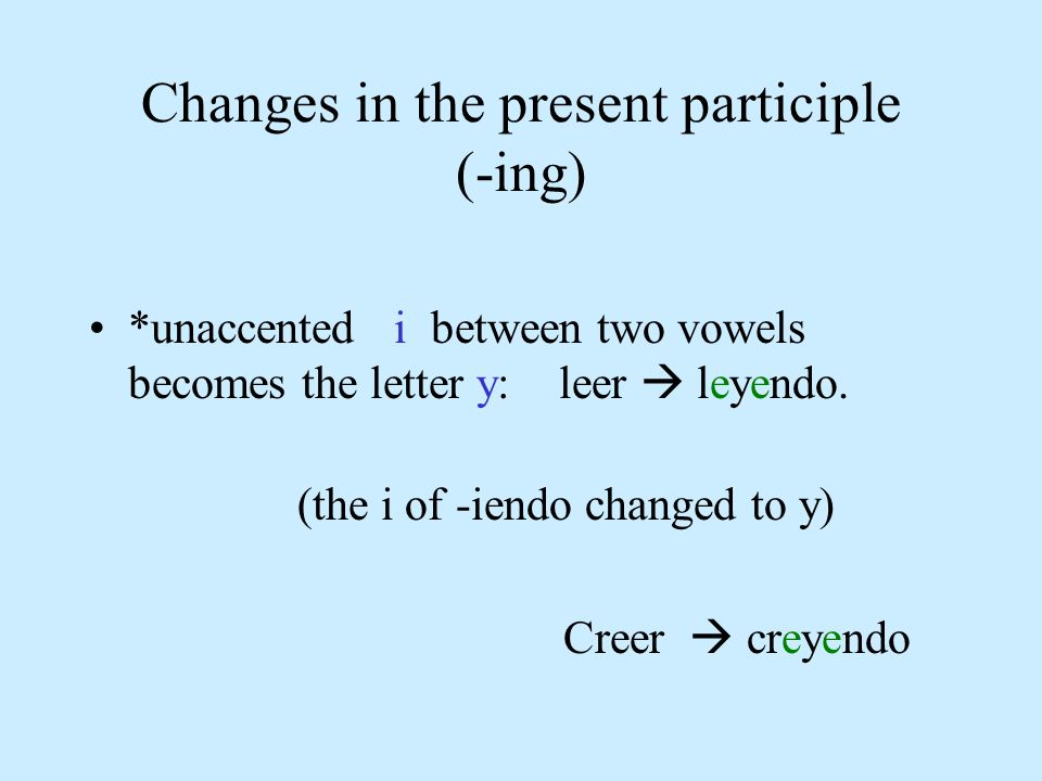 Changes in the present participle (-ing)