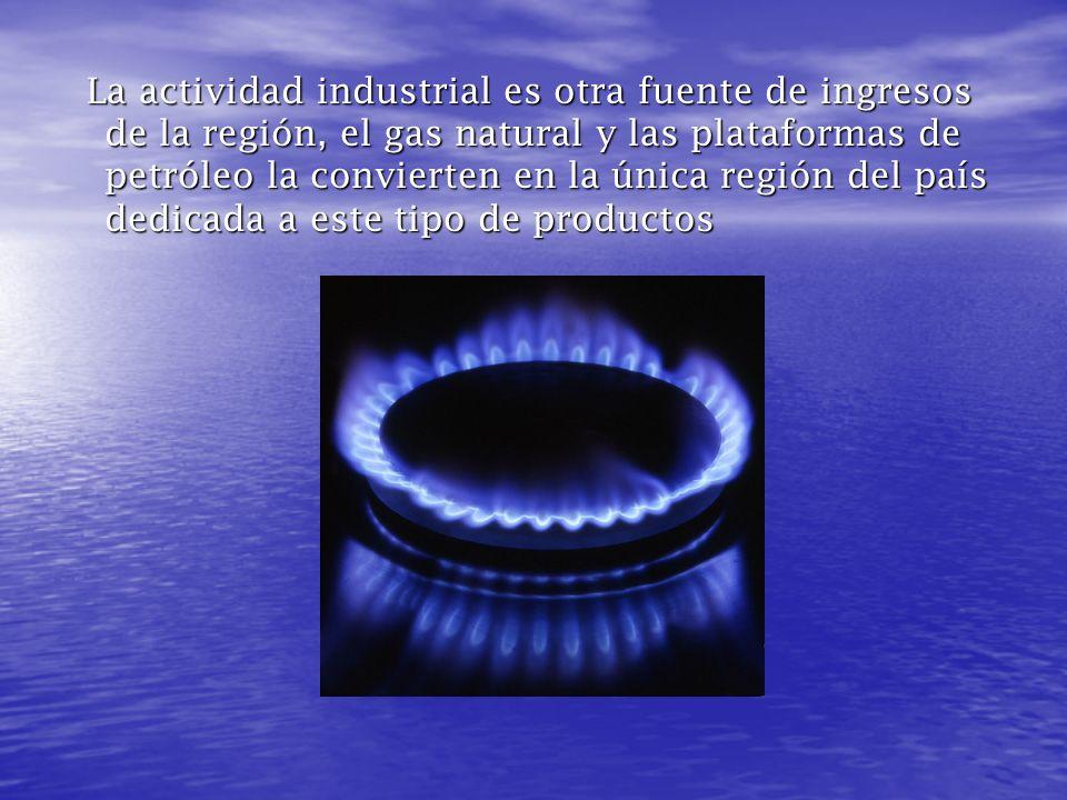 La actividad industrial es otra fuente de ingresos de la región, el gas natural y las plataformas de petróleo la convierten en la única región del país dedicada a este tipo de productos