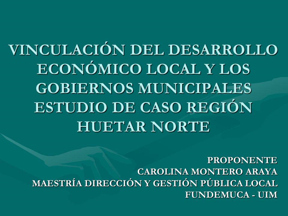 VINCULACIÓN DEL DESARROLLO ECONÓMICO LOCAL Y LOS GOBIERNOS MUNICIPALES ESTUDIO DE CASO REGIÓN HUETAR NORTE
