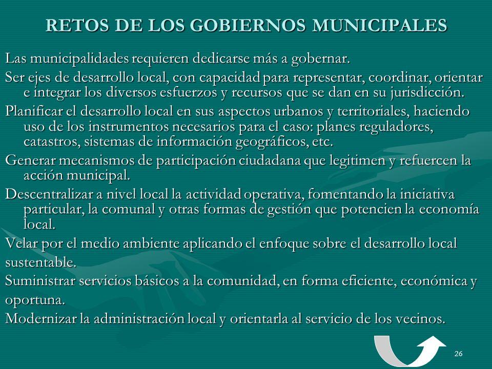 RETOS DE LOS GOBIERNOS MUNICIPALES