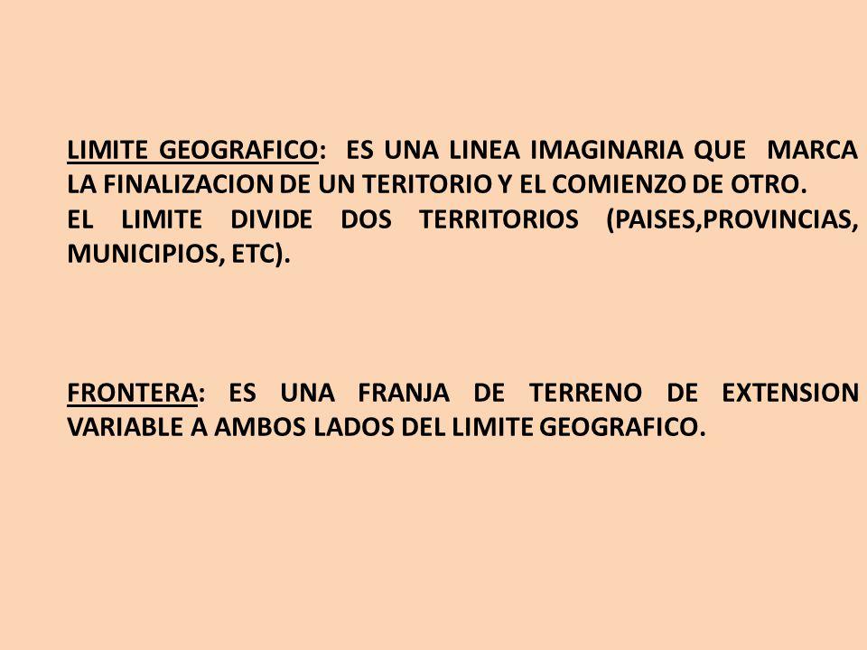 LIMITE GEOGRAFICO: ES UNA LINEA IMAGINARIA QUE MARCA LA FINALIZACION DE UN TERITORIO Y EL COMIENZO DE OTRO.