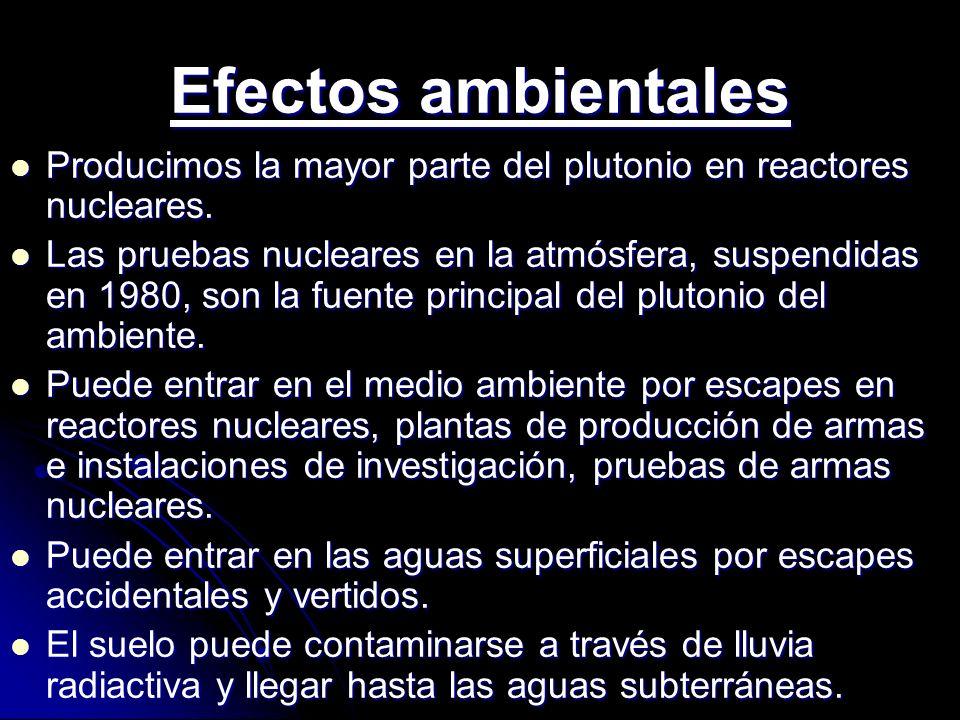Efectos ambientales Producimos la mayor parte del plutonio en reactores nucleares.
