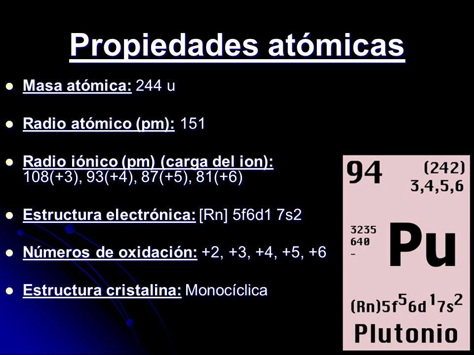 Propiedades atómicas Masa atómica: 244 u Radio atómico (pm): 151
