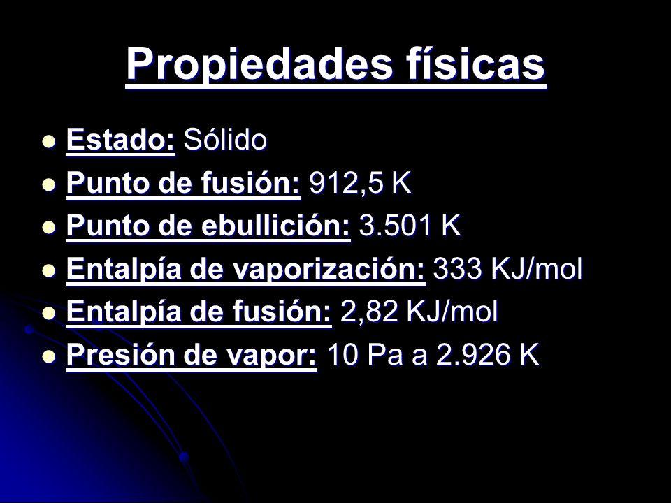 Propiedades físicas Estado: Sólido Punto de fusión: 912,5 K