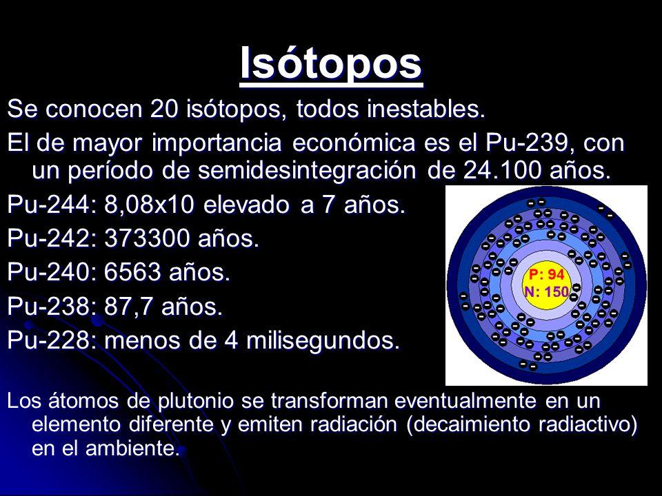 Isótopos Se conocen 20 isótopos, todos inestables.