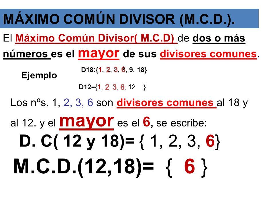 MÁXIMO COMÚN DIVISOR (M.C.D.).