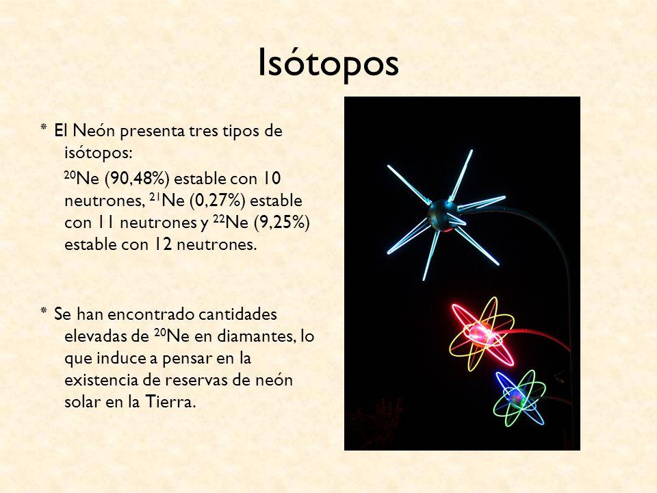 Isótopos ٭ El Neón presenta tres tipos de isótopos: