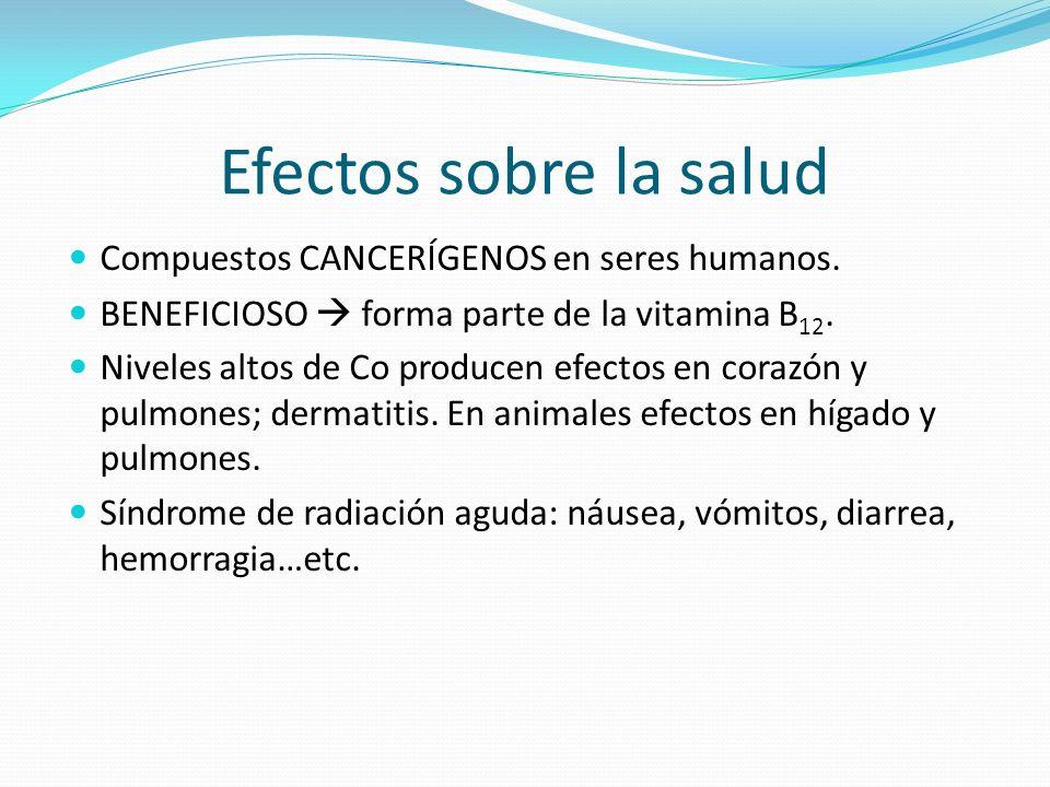 Efectos sobre la salud Compuestos CANCERÍGENOS en seres humanos.