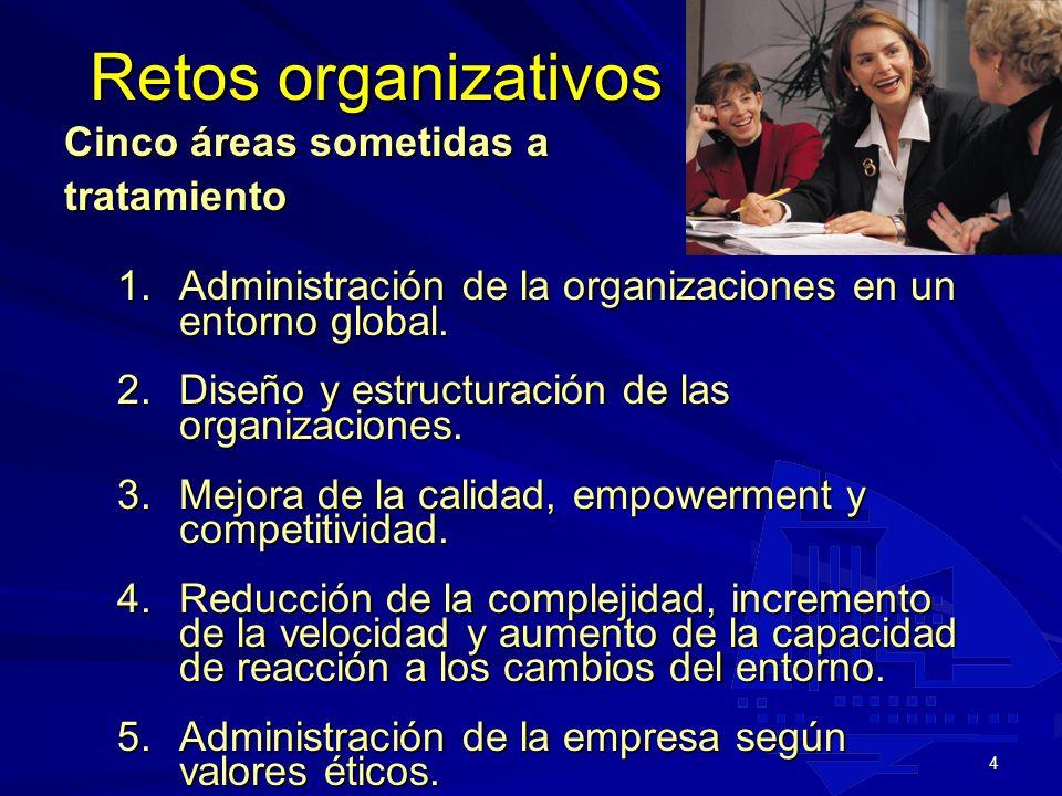 Retos organizativos Cinco áreas sometidas a tratamiento