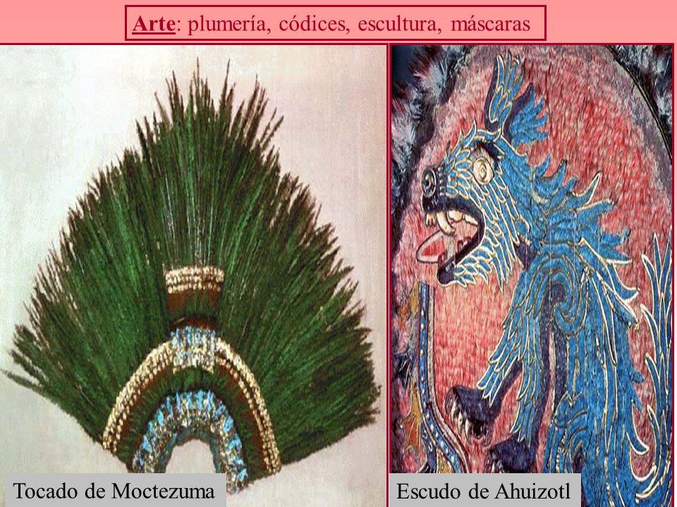 Arte: plumería, códices, escultura, máscaras