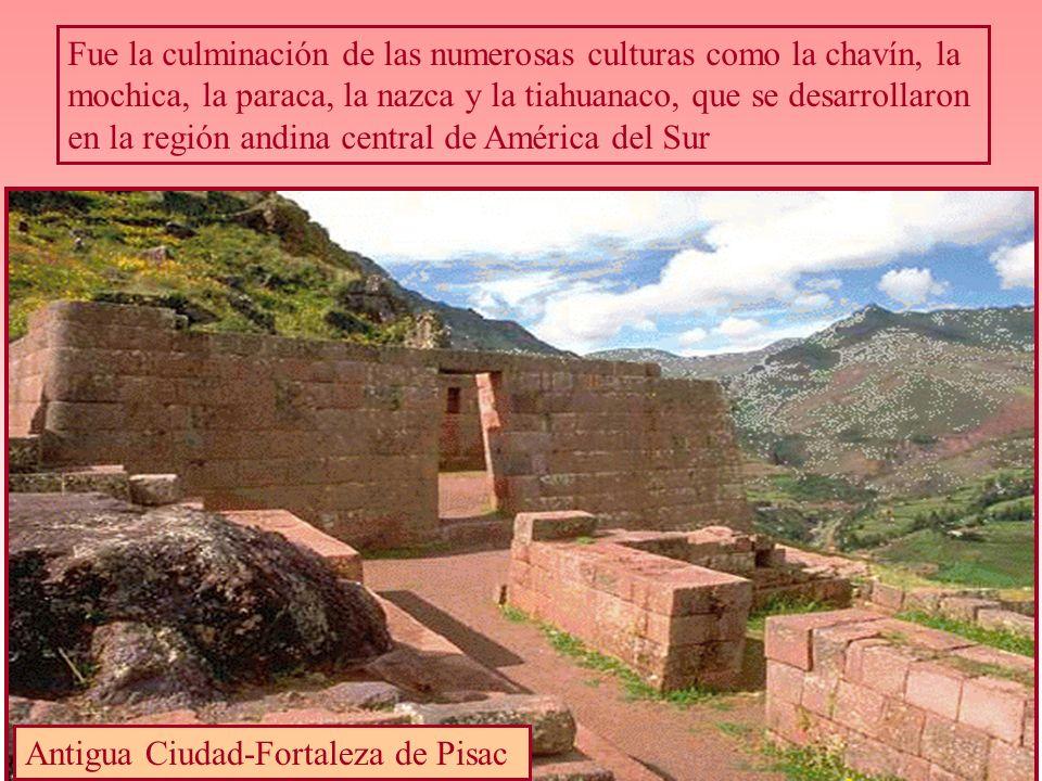 Fue la culminación de las numerosas culturas como la chavín, la mochica, la paraca, la nazca y la tiahuanaco, que se desarrollaron en la región andina central de América del Sur