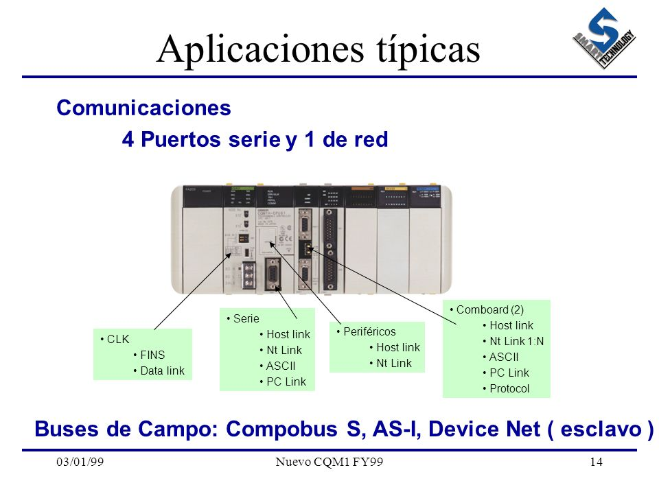 Aplicaciones típicas Comunicaciones 4 Puertos serie y 1 de red