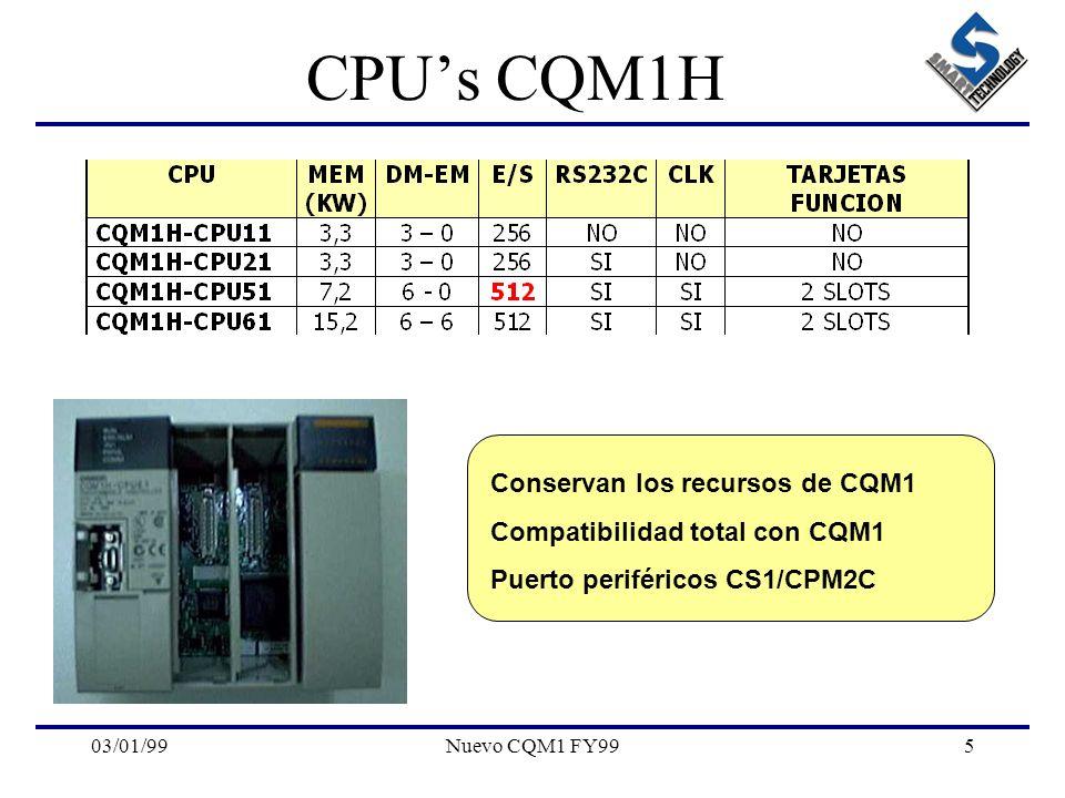 CPU's CQM1H Conservan los recursos de CQM1