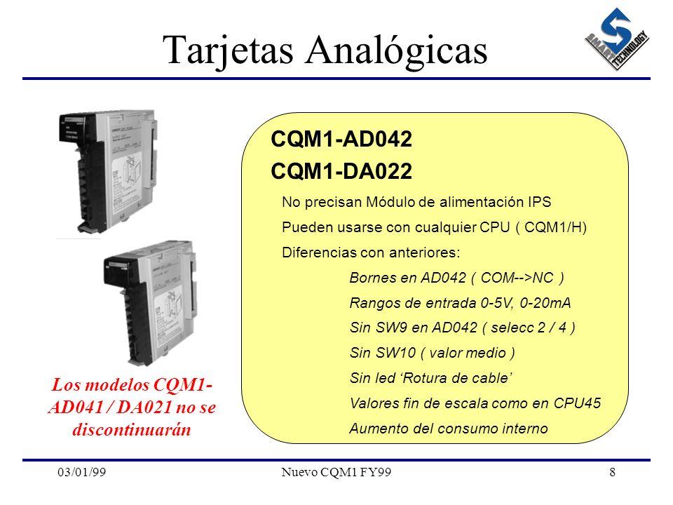 Los modelos CQM1-AD041 / DA021 no se discontinuarán