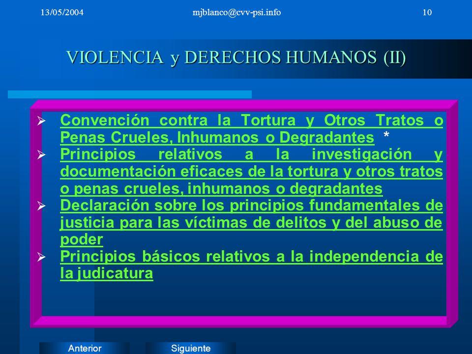 VIOLENCIA y DERECHOS HUMANOS (II)
