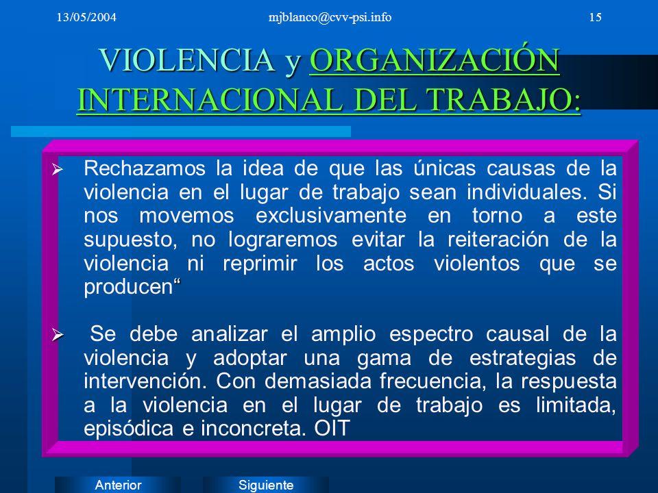 VIOLENCIA y ORGANIZACIÓN INTERNACIONAL DEL TRABAJO: