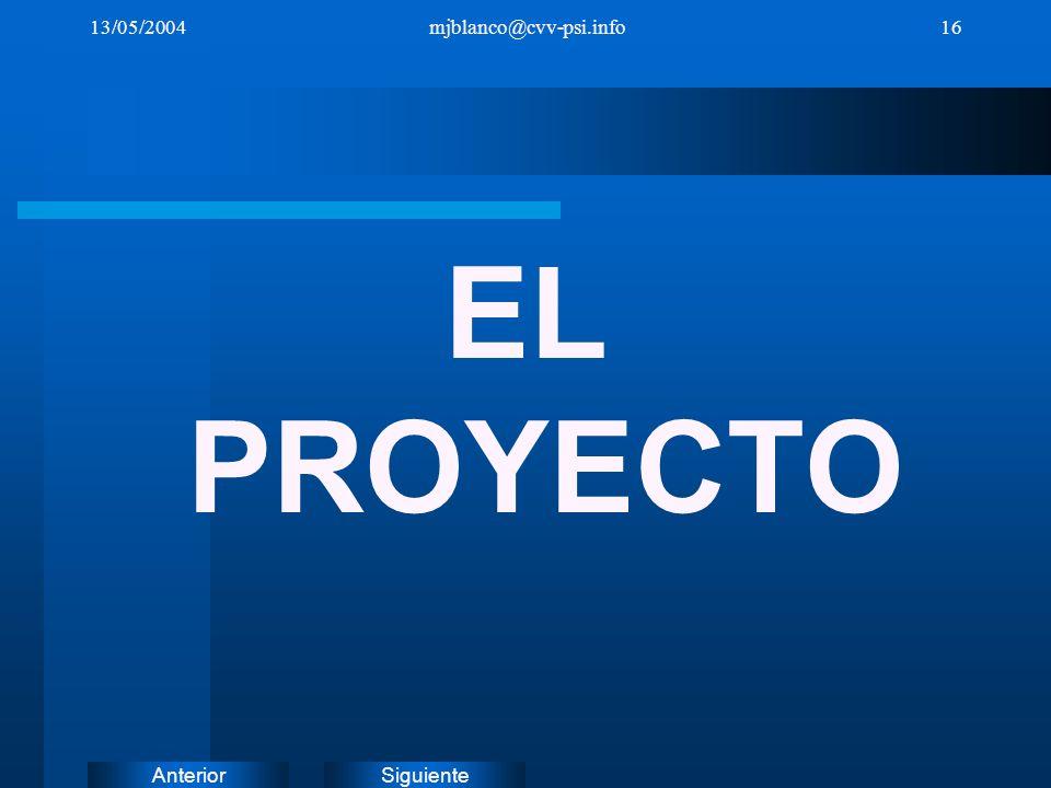 13/05/2004 mjblanco@cvv-psi.info EL PROYECTO