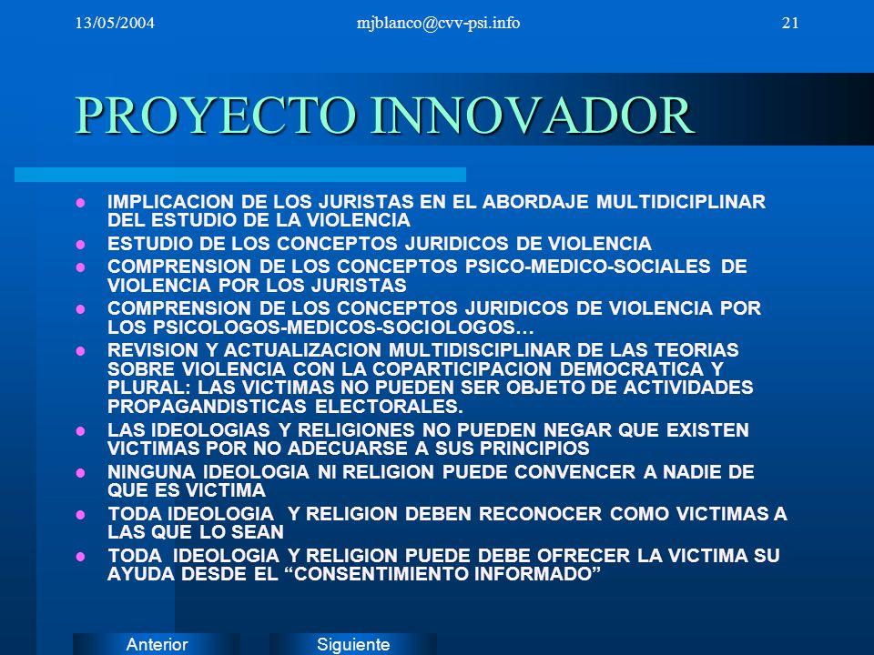 13/05/2004 mjblanco@cvv-psi.info. PROYECTO INNOVADOR. IMPLICACION DE LOS JURISTAS EN EL ABORDAJE MULTIDICIPLINAR DEL ESTUDIO DE LA VIOLENCIA.
