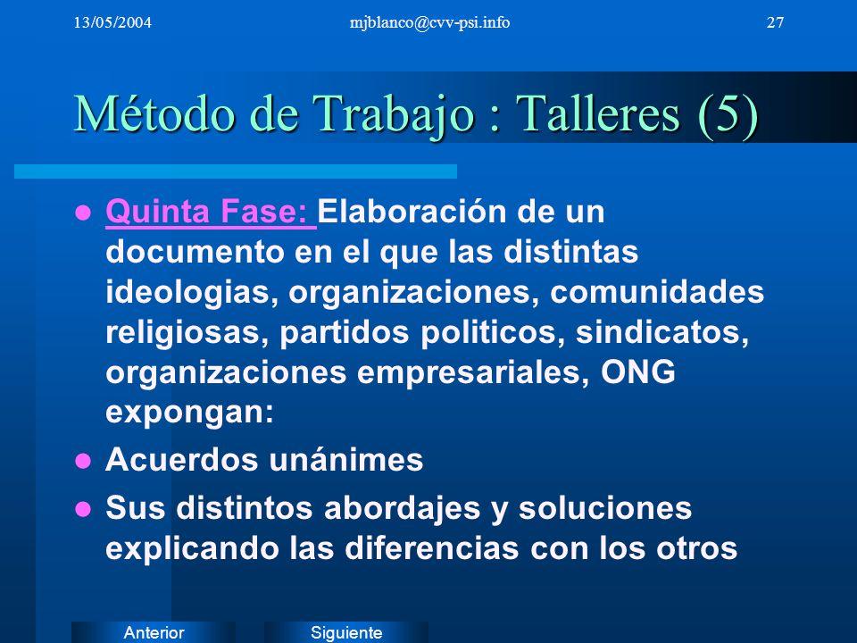 Método de Trabajo : Talleres (5)