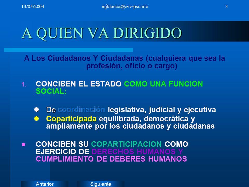 13/05/2004 mjblanco@cvv-psi.info. A QUIEN VA DIRIGIDO. A Los Ciudadanos Y Ciudadanas (cualquiera que sea la profesión, oficio o cargo)