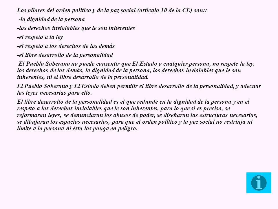 Los pilares del orden político y de la paz social (artículo 10 de la CE) son::