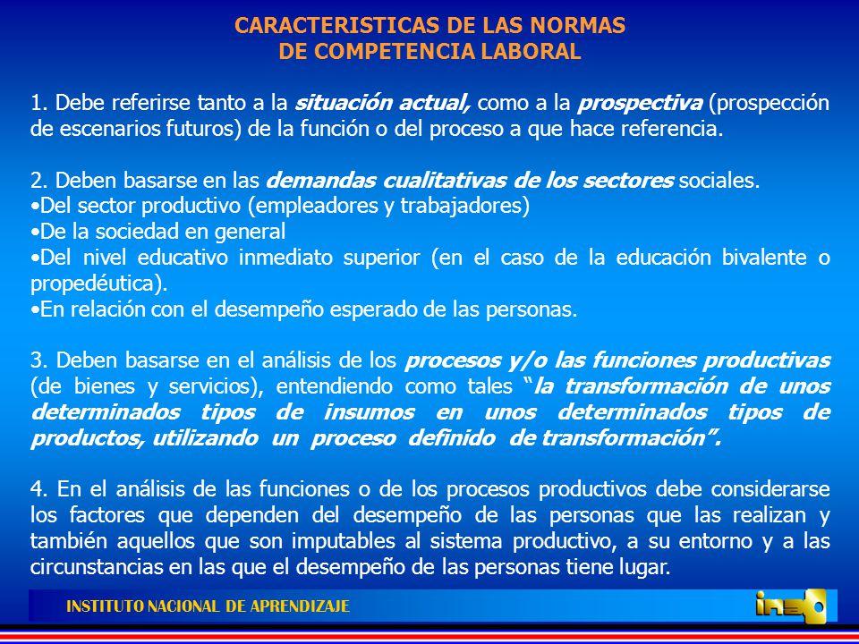 CARACTERISTICAS DE LAS NORMAS DE COMPETENCIA LABORAL