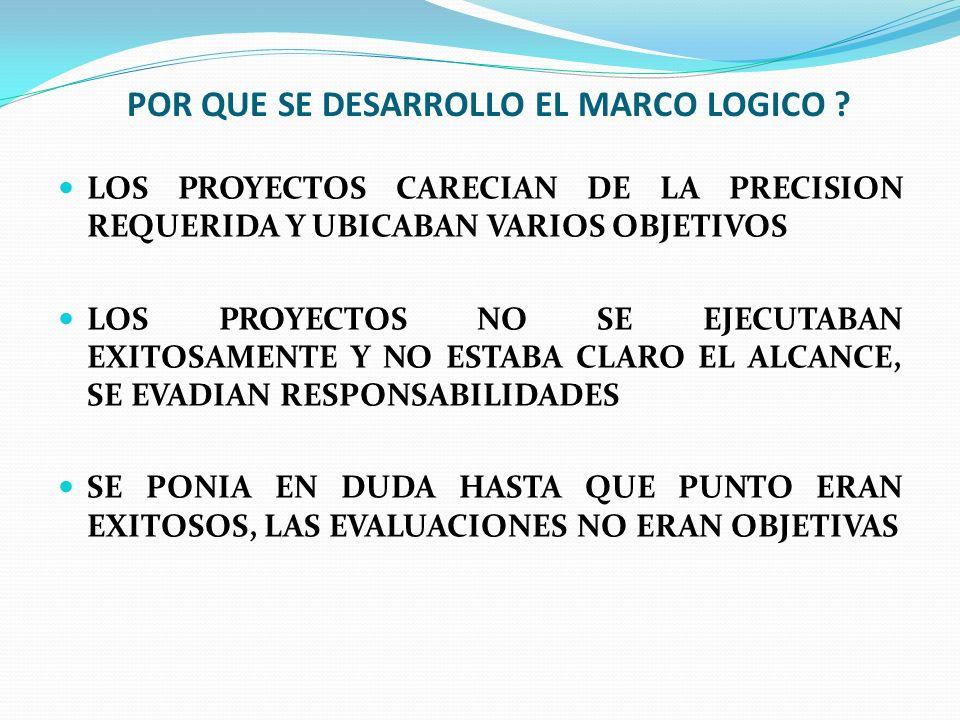 POR QUE SE DESARROLLO EL MARCO LOGICO