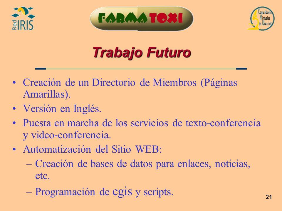 Trabajo FuturoCreación de un Directorio de Miembros (Páginas Amarillas). Versión en Inglés.