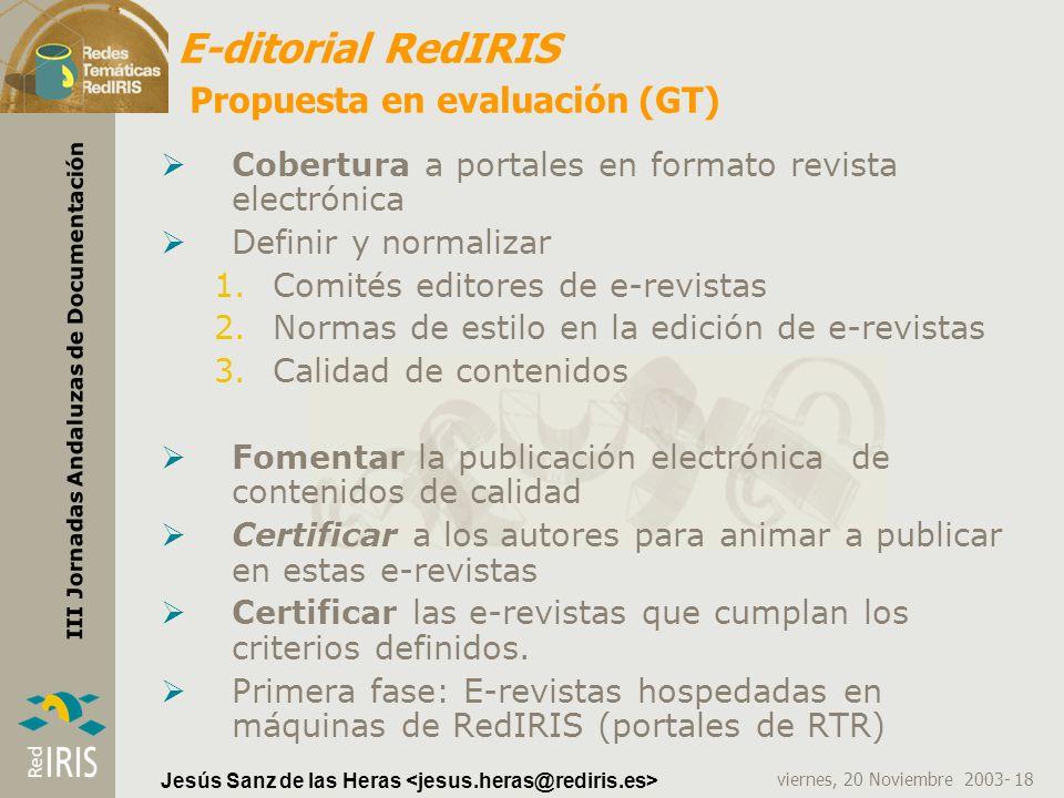 E-ditorial RedIRIS Propuesta en evaluación (GT)