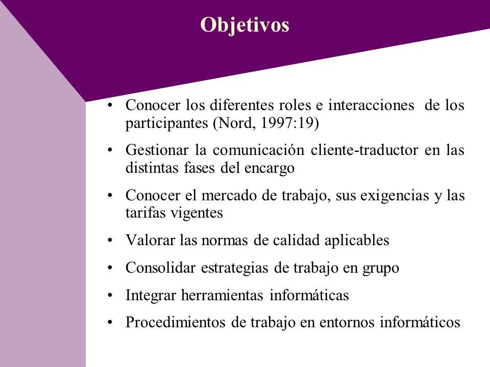 Objetivos Conocer los diferentes roles e interacciones de los participantes (Nord, 1997:19)