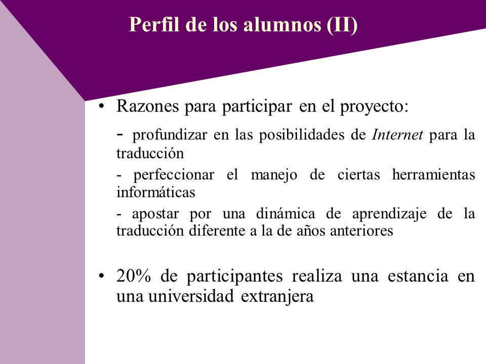 Perfil de los alumnos (II)